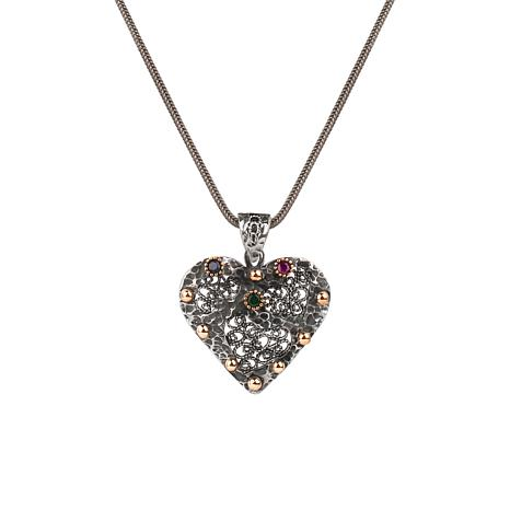 "Ottoman Silver Gemstone Filigree Heart Pendant with 17""  Chain"