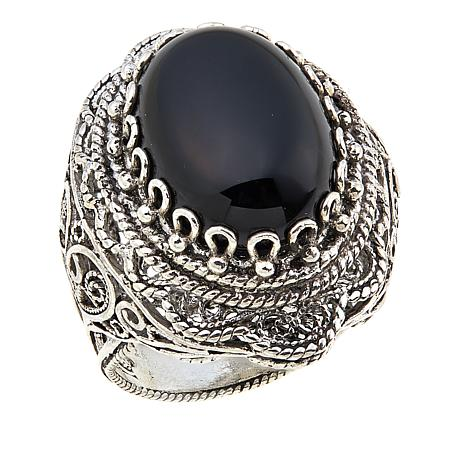 Ottoman Silver Jewelry Collection Oval Black Onyx Filigree Ring