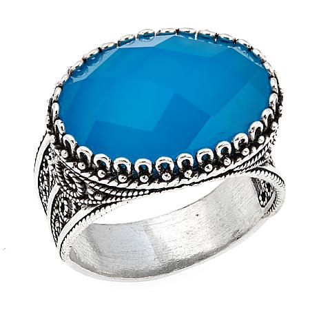 Ottoman Silver Jewelry Collection Oval Blue Chalcedony Filigree Ring