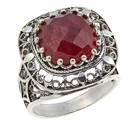 Ottoman Silver Jewelry Collection Square Ruby Filigree Ring