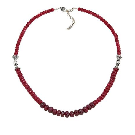 "Ottoman Silver Jewelry Corundum Graduated Bead 19"" Necklace"