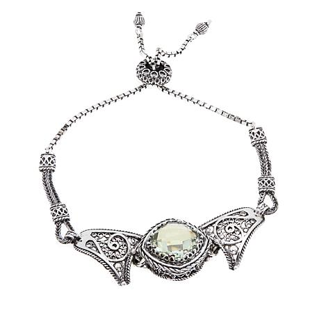 Ottoman Silver Jewelry Cushion-Cut Gemstone Bracelet