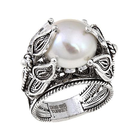 """Ottoman Silver Jewelry Freshwater Pearl """"Blossom"""" Ring"""