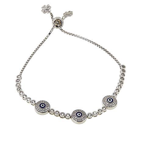 "Ottoman Silver Jewelry White Topaz ""Evil Eye"" Bolo Bracelet"