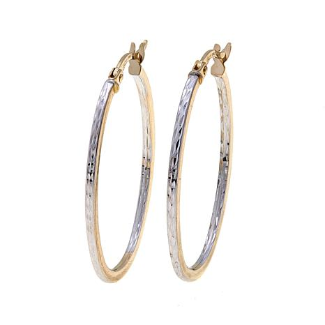 Passport to Gold 14K 2-tone Diamond-Cut Hoop Earrings