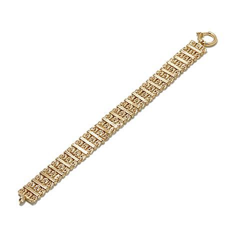 "Passport to Gold 14K Byzantine & Textured Station 8"" Bracelet"