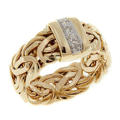 Passport to Gold 14K Byzantine-Link Diamond-Accented Band Ring