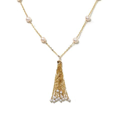 Passport to Gold 14K Forzantina & Pearl Tassel Necklace
