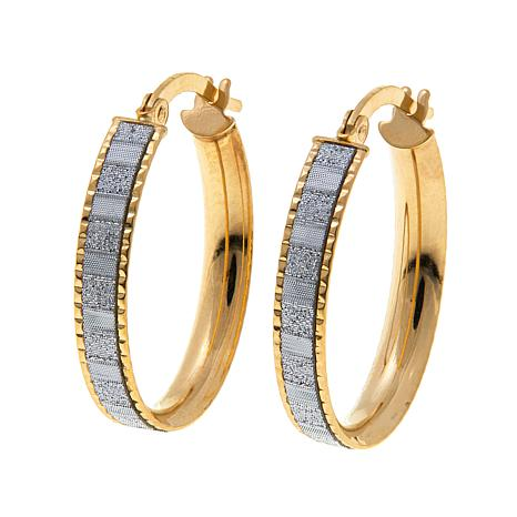 "Passport to Gold 14K Glitter 13/16"" Oval Hoop Earrings"
