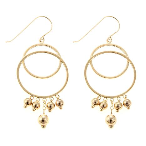 Passport to Gold 14K Gold Double Circle Drop Earrings