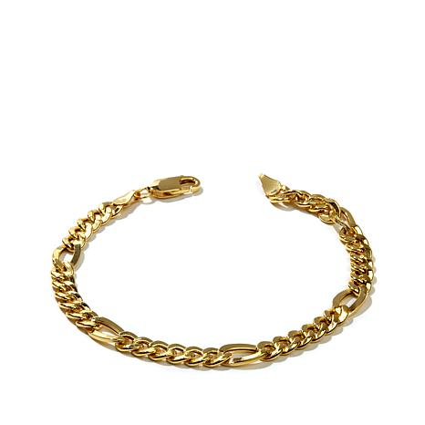 Pport To Gold 14k Figaro Men S Bracelet