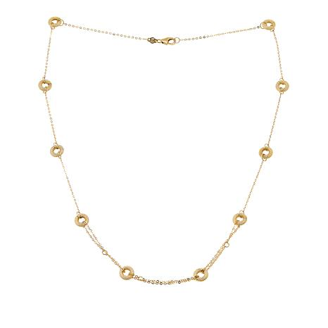 "Passport to Gold 14K Gold Textured-Circle Cable-Link 18-1/2"" Necklace"