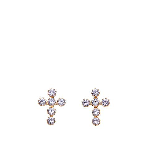 Passport to Gold 14K Kid's 0.18ctw CZ Cross Studs