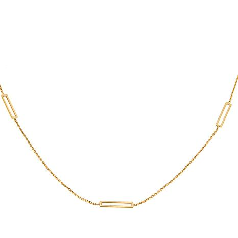 "Passport to Gold 14K Rectangle Bar Station 16"" Necklace"