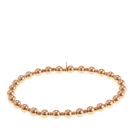 Pport To Gold 14k Rose Bead Stretch Bracelet