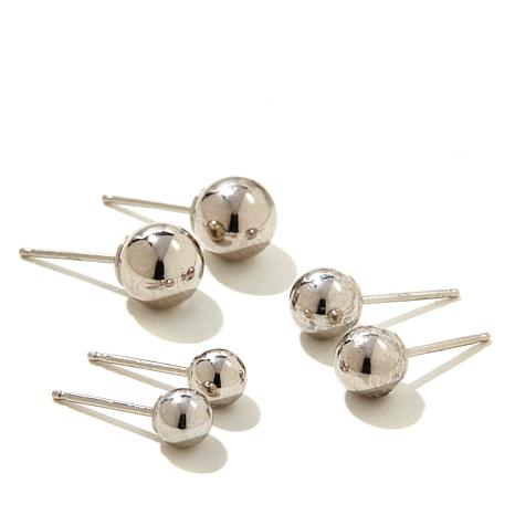 Pport To Gold 14k White Ball Stud Earrings 3 Sets