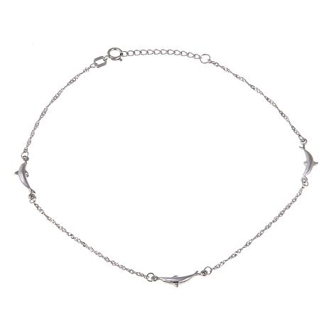 "Passport to Gold 14K White Gold Dolphin 9"" Anklet"