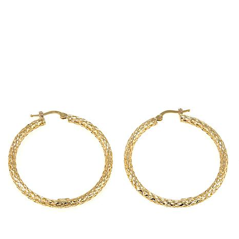 Pport To Gold 14k Yellow Glitter Mesh Hoop Earrings