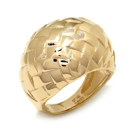 "Passport to Gold  ""Basketweave"" 14K Dome Ring"