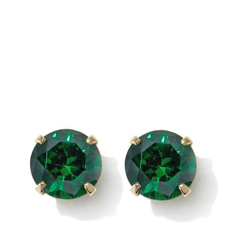 Passport to Gold Kids 14K CZ Emerald-Color Stud Earring