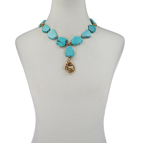 "Patricia Nash 20"" Stone Lock-and-Key Drop Necklace"