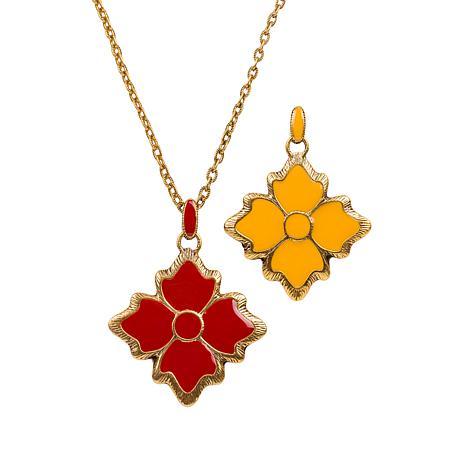 """Patricia Nash 27"""" Reversible Enamel Floret Drop Necklace"""