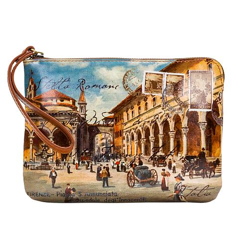 Patricia Nash Cassini Travel Postcard Leather Wristlet