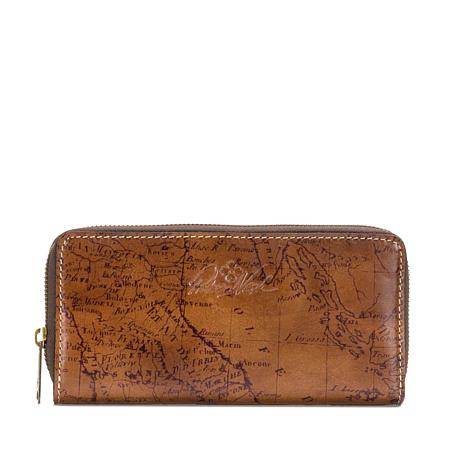 Patricia Nash Lauria Leather Zip-Around Map Wallet