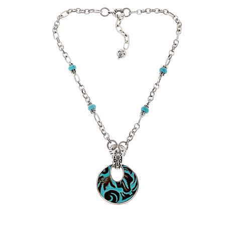 "Patricia Nash Romula 20"" Leather Inset Drop Necklace"