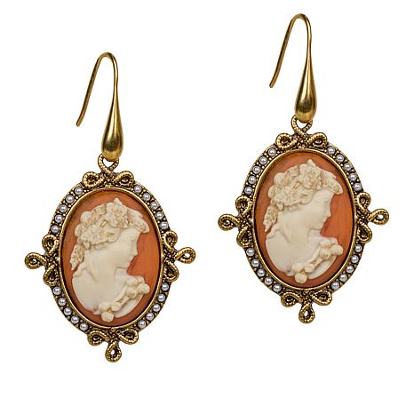 Patricia Nash Simulated Cameo Textured Drop Earrings