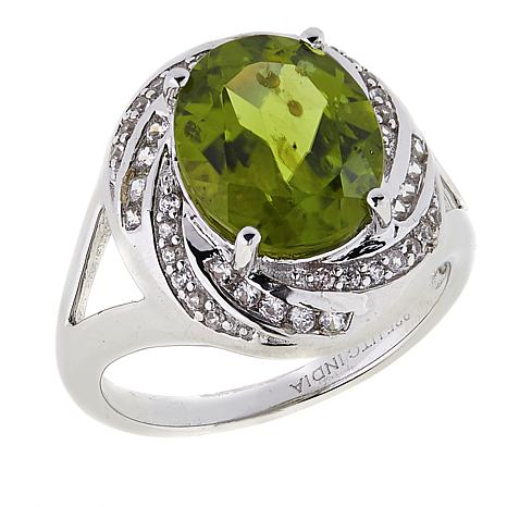 Paul Deasy Gem Oval Gem and White Zircon Sterling Silver Ring