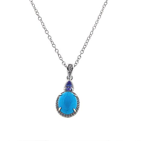 Paul Deasy Gem Oval Gem, Tanzanite and White Zircon Pendant w/Chain
