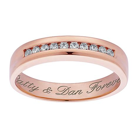 Personalized CZ Wedding Band Ring