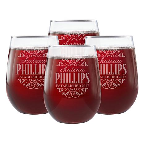 Personalized Decorative Label Stemless Wine Glasses - Set of 4