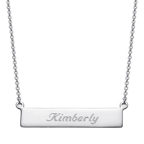 "Personalized Script Nameplate Bar 18"" Necklace"