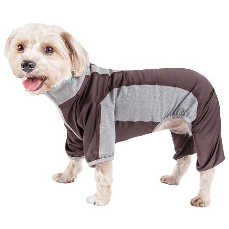 Pet Life Active Warm-Pup Two-Toned Heathered Full Body Dog Warmup Suit