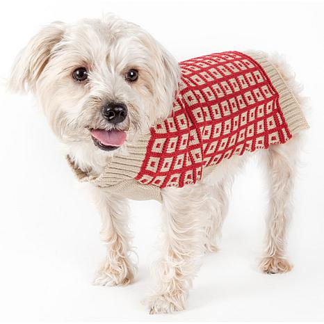 Pet Life Butterscotch Box Weave Cable Knit Turtleneck Dog Sweater