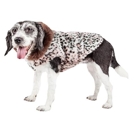 Pet Life Luxe Furracious Cheetah Patterned Faux Mink Dog Coat