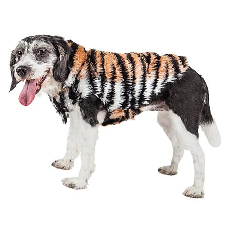 Pet Life Luxe Tigerbone Glamorous Tiger Pattern Faux Mink Dog Coat