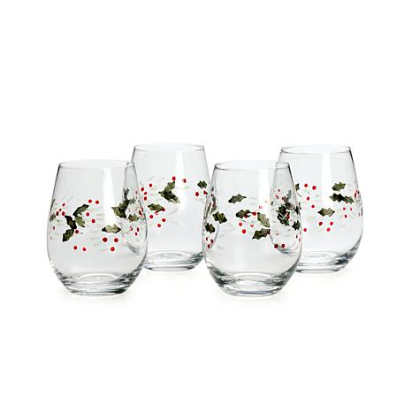 Pfaltzgraff Winterberry Set of 4 Stemless Wine Glasses