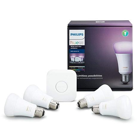 Philips Hue 4-pack White and Color Ambiance A19 Gen 3 Starter Kit
