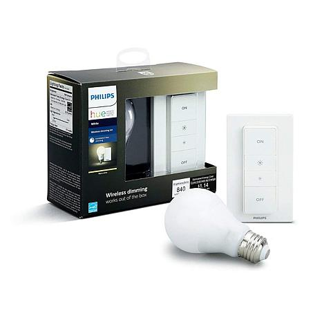 Philips Hue White Ambiance Light Recipe Kit w/A19 Bulb & Dimmer Swi...