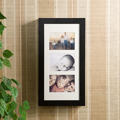 Photo Display Wall-Mount Black Jewelry Armoire