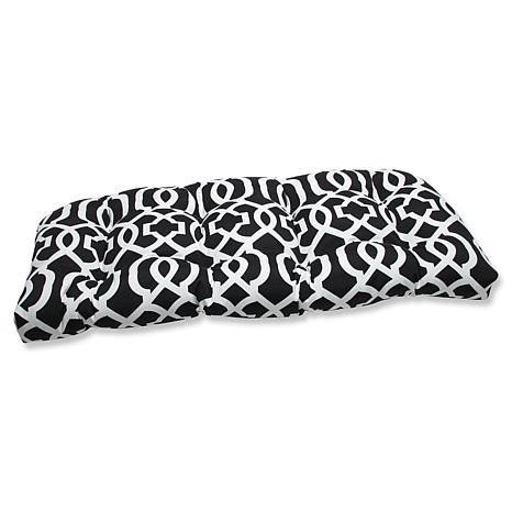 Pillow Perfect Geo Wicker Loveseat Cushion- Black-White