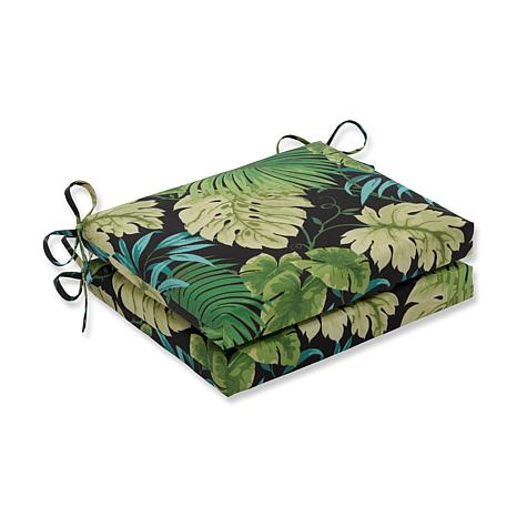 Pillow Perfect Reversible Square Seat Cushions - Green