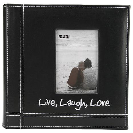 Pioneer Embroidered Leatherette Photo Album 9X9 - Live, Laugh & Love