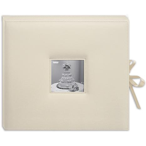 Pioneer Sewn Leatherette D-Ring Scrapbook Box - Ivory