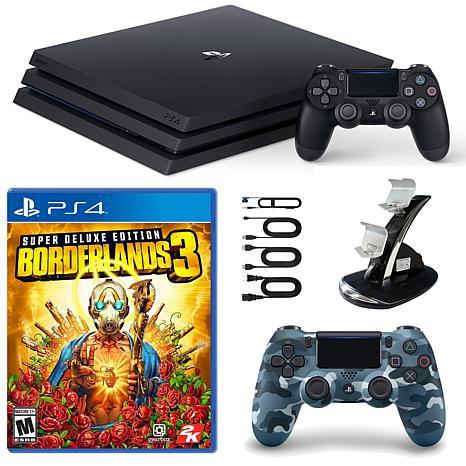 PlayStation 4 Pro 1 TB Console with Borderlands 3, Blue Camo Contro...