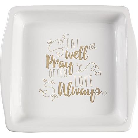 Precious Moments Eat Well Pray Often Love Always Ceramic Brownie Pan