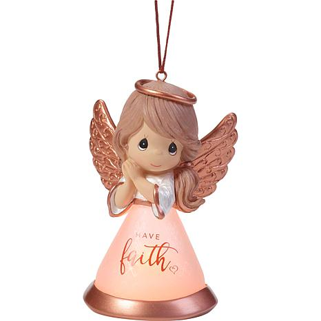 Precious Moments Have Faith LED Resin and Glass Angel Ornament